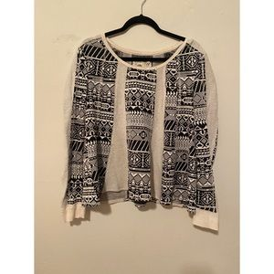 Anthropology scoop neck black and white sweater